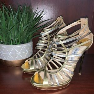 Gold strappy Jimmy Choo Heels Euro Size 37
